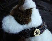 SOFT hand knit dog collar - 16 inch - brown and blue - paw print button - pet rescue donation