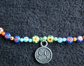 Groovy Smiley Face Rainbow MIllefiori Necklace - 18 inches - vintage smiley pendant