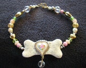 Antique Rose - Beaded Collar - 12 inch - OOAK - pink, mint, pearl, and gold - medium