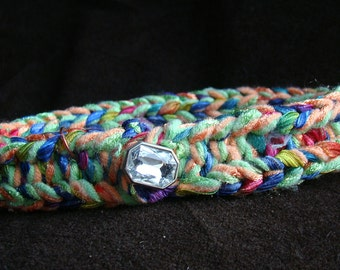 Hand Knit pet collar - jewel tones - vintage crystal - 14 inch