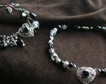 Dark Fairy-Charm Bracelet and 15 Inch Dog Collar Set - jet black and silver