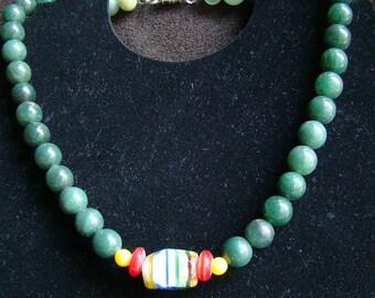 Green Jade Choker - 17 inch - Millefiori Bead Pendant - Floral Glass