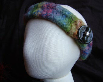 Felted Hand knit Head Band - vintage button closure - 21 inch