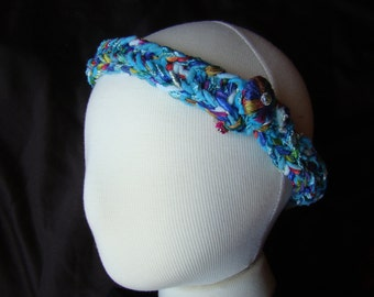 Turquoise and Jewel Tones - hand knit hairband - crystal accent closure - 22 inch