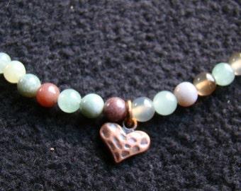 Love Is a Well-Used Heart - Jasper stone choker - 16 inch - ocean color tones