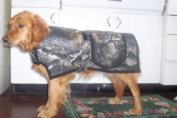 """SALE - Camo Dog Coat - 22"""" neck to tail - Medium - supports pet rescue"""