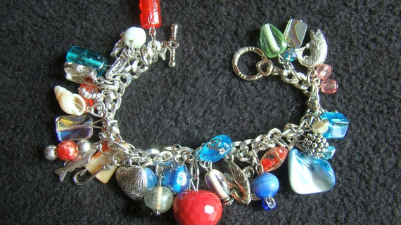 GONE FISHING - OOAK Loaded with charms - 7.5 inch - silver, red, blue, sea green