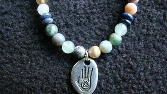 Creative Hand - Jasper stone choker - 16 inch - ocean tones - for those for whom Creativity is the Path of Life as it says on pendant