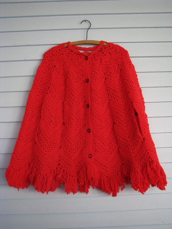 1970s Red Crocheted Knit Poncho