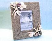 Beach Decor Seashell Frame with Hemp Starfish & Seashells Frame 5x7 photo opening
