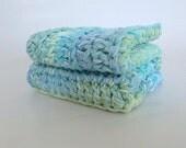 Beach Decor Hand Crocheted 100% Cotton Washcloths, Aqua, Turquoise, Multi, Thick 9X9 Washcloths - 2pc