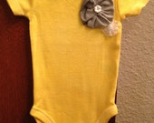 Unique Baby Girl Onesie in Yellow With Gray Handmade Flower