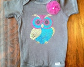 Unique Baby Girl Onesie in Gray With Beautiful Owl Decal & Handmade Flower