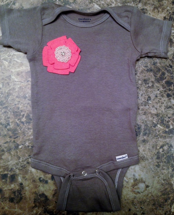 Unique Baby Girl Onesie in Gray With Beautiful Handmade Flower-Different Sizes Available