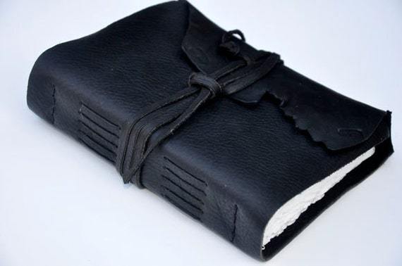 """Handmade Leather Journal 5 1/2"""" x 7 1/2"""" - 140 lb watercolor paper - Sketchbook - Father's Day Gift"""