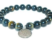 Blue Tigers Eye Wrist Mala Bracelet Lotus Charm Fine Silver PROTECTION GROUNDING TRANSITIONS
