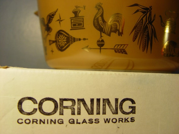 1960s Pyrex Corning 2 Qt. Casserole Dish Golden Harvest Design (New NOS)