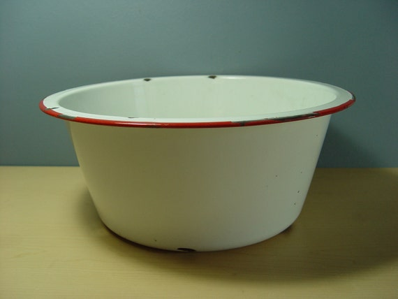 1940s Vintage Enamel Red & White Wash Basin Tub - LARGE