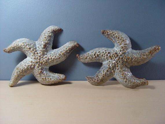 Vintage Ceramic Starfish with Life-like Paint & Glazing (Set of 2)