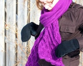Long Bamboo Wool Purple Scarf - Leaf Lace Tipped