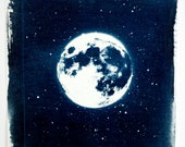 Moonscape - a handmade cyanotype of the moon from 2011