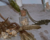 Bronze Chain Bone Bottle Necklace with Green Feather