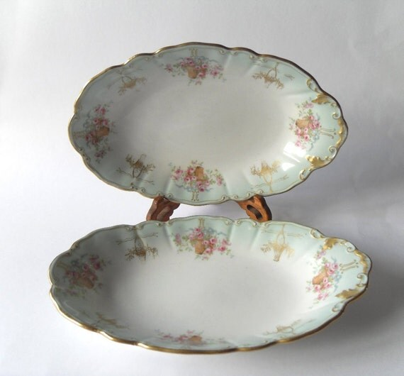 2 Vintage Limoges Dishes by W. Guerin & Cie -c1891 - 1932