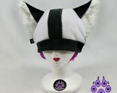 Black White Husky Dog Hat fleece beanie ski warm anime cosplay rave cyber faux fur furry fox canine 1430