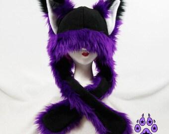 Pawstar FOX YIP Hat III You Pic Color White Black Gray Purple Pink Blue kitsune Puffet Hat warm rave fleece Faux Fur Wolf Animal ear 1751