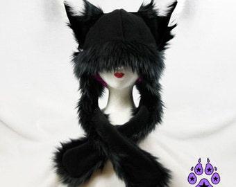 Pawstar FOX YIP Hat III You Pic Color White Black Purple Pink Tan Orange kitsune Puffet Hat warm rave fleece Faux Fur Wolf Animal ear 1751