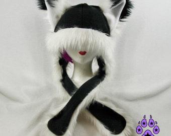 Pawstar FOX YIP Hat III You Pic Color White Black Gray Brown Tan Orange kitsune Puffet Hat warm rave fleece Faux Fur Wolf Animal ear 1751