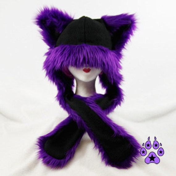 Pawstar FLUFFY MEW HAT Extra Warm You Pick Color Black Purple Red Blue Pink Green Yellow Cat Puffet Hat dark kei strap warm ski punk 1752