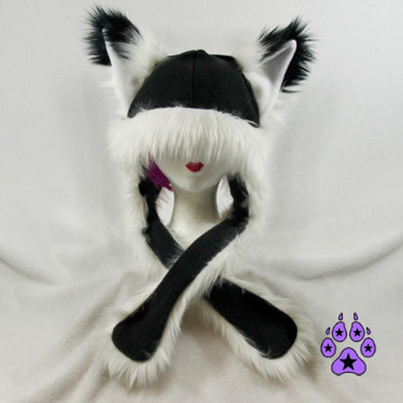 Pawstar FOX YIP Hat III You Pic Color White Black Gray Brown Tan Orange kitsune Puffet Hat warm rave fleece Faux Fur Wolf Animal ear 1751