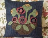 Folk Art Flowers on Houndstooth Pillow Slipcover