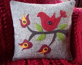 Folk Art Red Bird on Brown Tweed Pillow Slipcover
