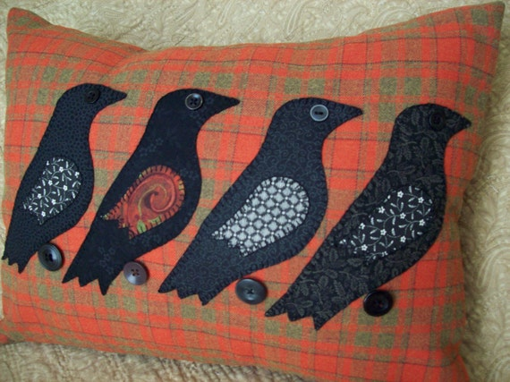 Black Birds on Red Plaid Pillow Slipcover