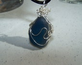 ENGLISH SEA GLASS Necklace  - Wire-wrapped marine blue nicely pitted