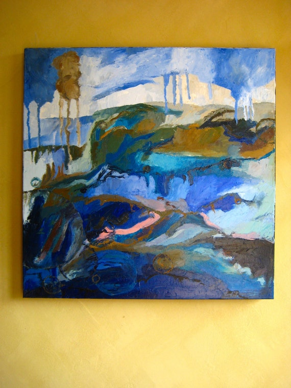 original oil painting: 'sea of forgetfulness' oil painting, ocean, sea, blues, large wall art, home and living, home decor