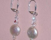Perlmutt Münzen und Kristallen 925er Silber Ohrringe - e-12