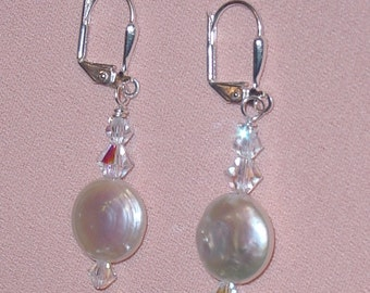 Pearl Coins and Crystals Sterling Silver Earrings - e-12 Made to Order