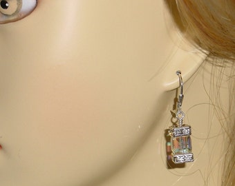 Swarovski Crystal AB Cube Dangle Earrings Sterling Leverbacks  e-29 Ready to Ship