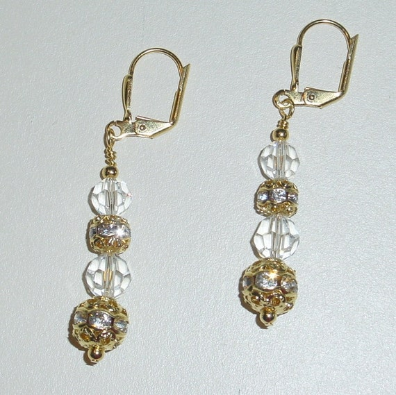 Swarovski Crystal and Rhinestone Ball  Gold Plated Leverback Earrings -e-66 Ready to Ship