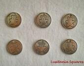 Teddy Bear Medal Charm - 6pcs