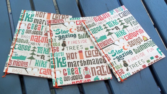 "Set of 3 Handmade Journals - ""Little Camper"""