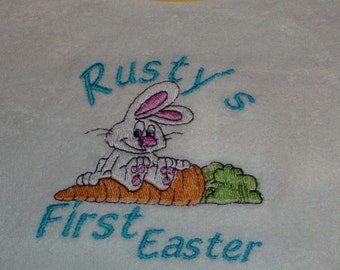 Personalized Embroidered First Easter Baby Bib Holiday Bib
