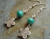 Silver Flower ad Russian Amazonite Earrings