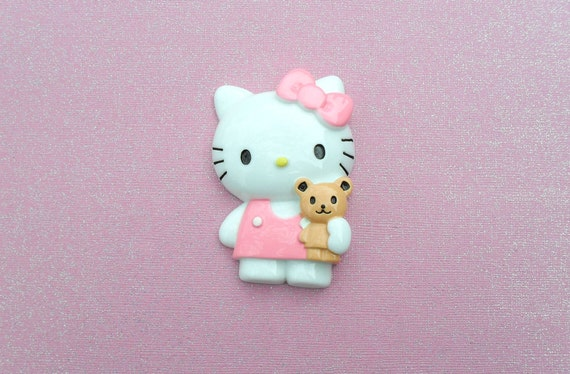 SALE 1 pc Pink Hello Kitty With Bear Cabochon