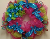 Spring/Summer Wreath  with Fuchsia, Turquoise and Lime Green