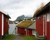 Norwegian Fishing Village - Fine Art Photograph, Norway red buildings quaint landscape