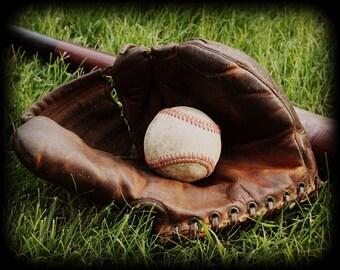 Baseball - Vintage Photo, baseball glove photograph, bat ball base ball, traditional, old school, grass